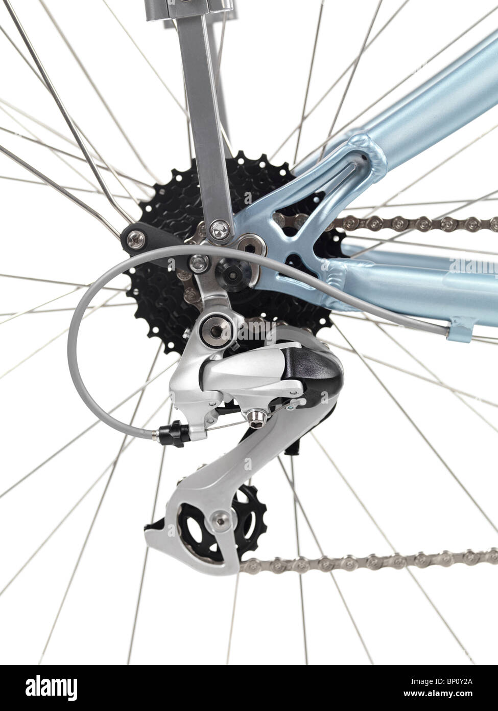 Set of gears and a derailleur of a 21-speed bicycle - Stock Image