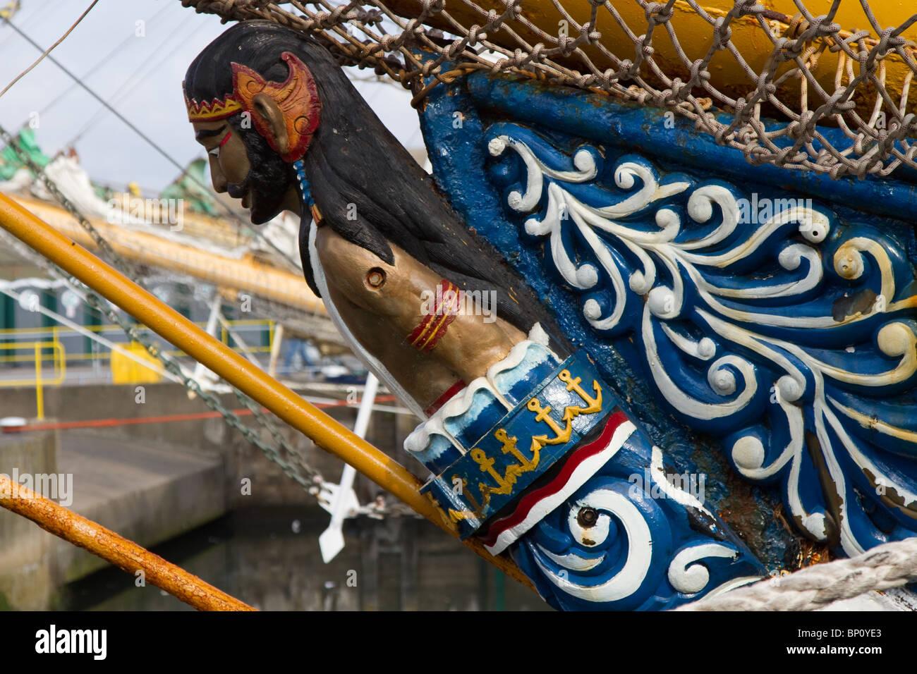Figurehead, figurehead, ship, boat, sail, sea, wood, vessel, bow, rope, old, ancient, flag, history, mast, galleon, - Stock Image