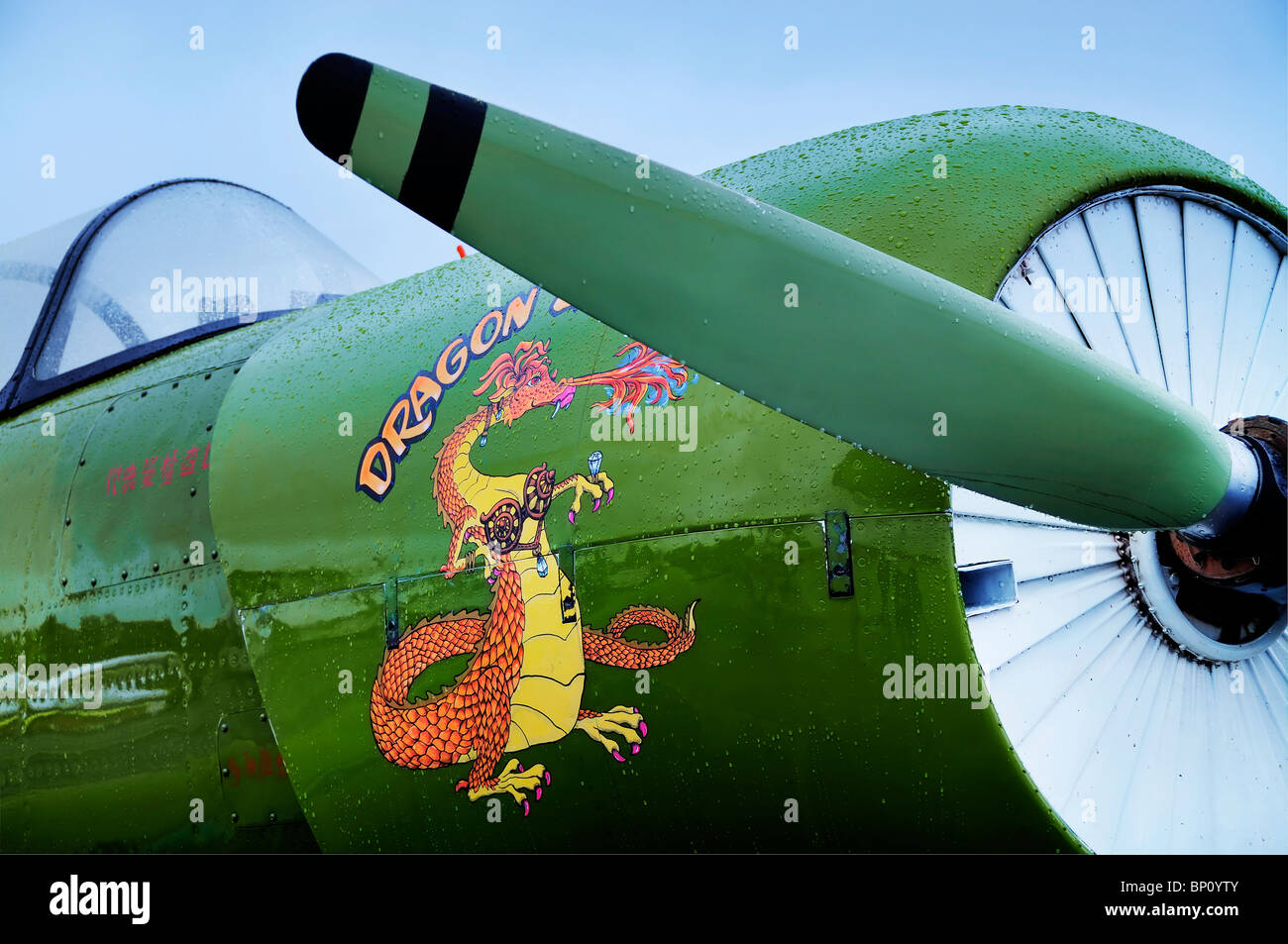 Close up of a Nanchang CJ-6A warbird at the Olympic Airshow in Tumwater, Washington. - Stock Image