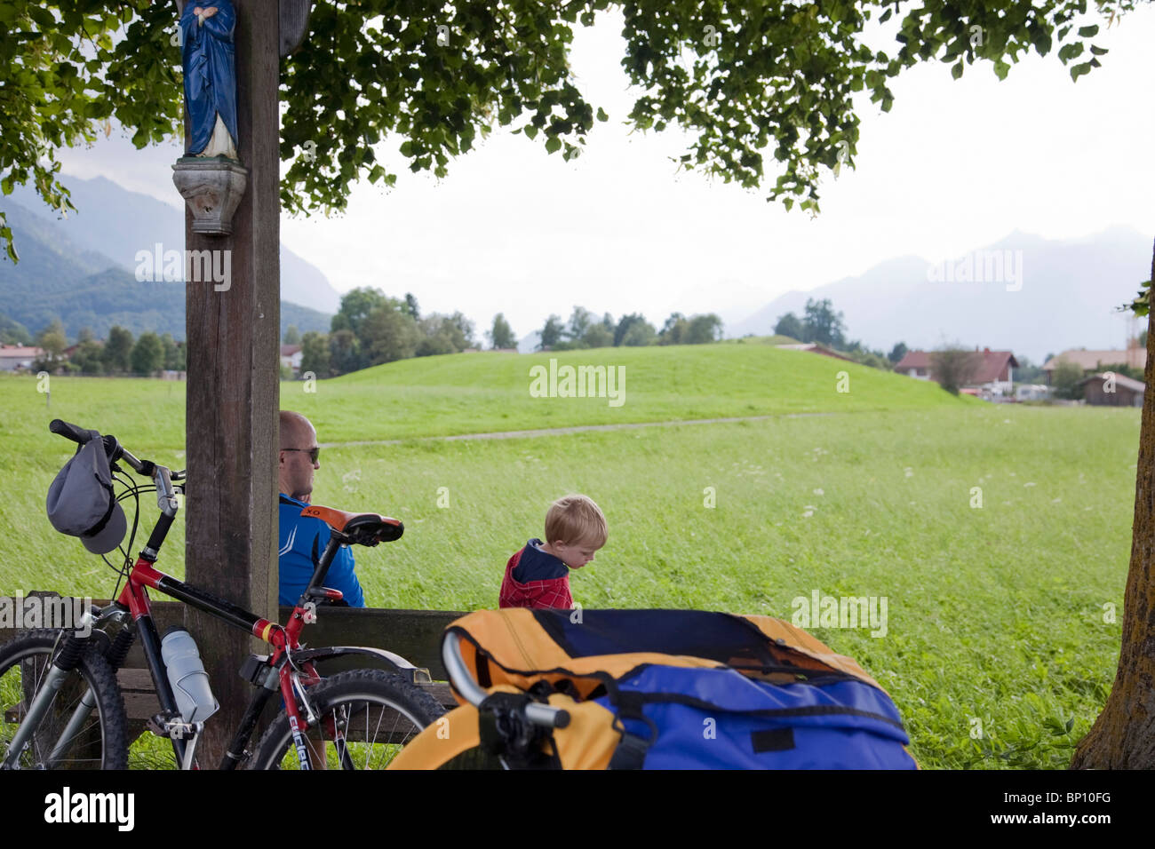 Father and son having a break - Stock Image