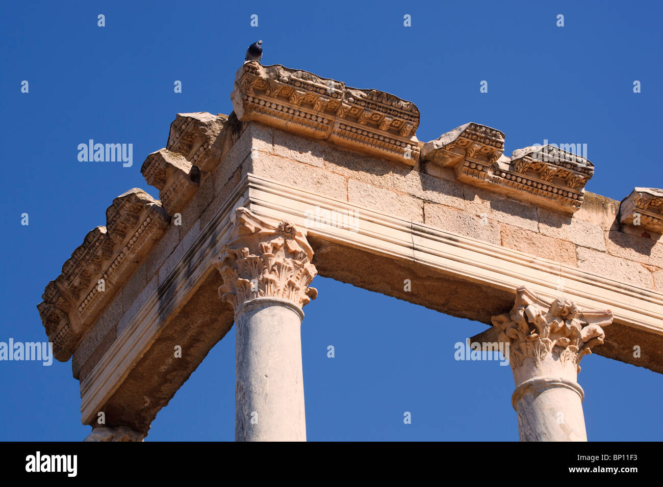 Merida, Badajoz Province, Spain. The Roman theatre built in the first century BC. Detail of colonnade behind the - Stock Image