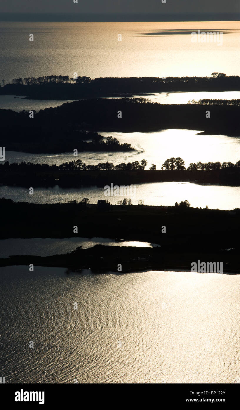aerial view above  silhouette peninsulas islands Cheasapeake bay Maryland USA - Stock Image