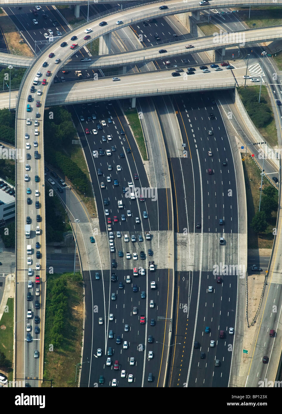 aerial view above rush hour traffic timed access to interstate I-75 I-85 Atlanta Georgia - Stock Image