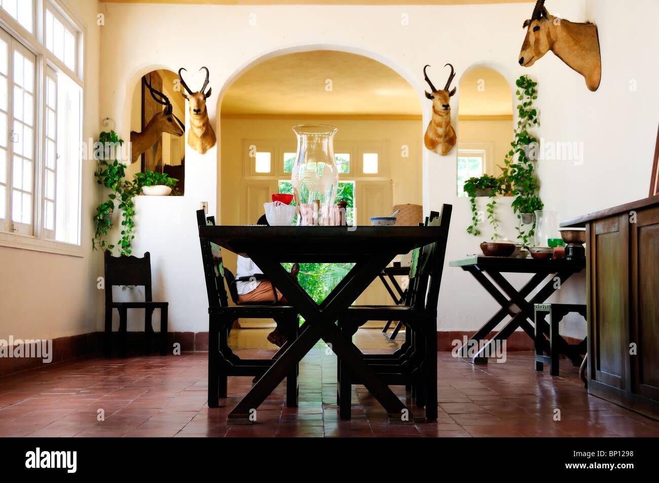 Detail from Ernest Hemingway´s dining room at Finca Vigia in San Francisco de Paula, Cuba. Stock Photo