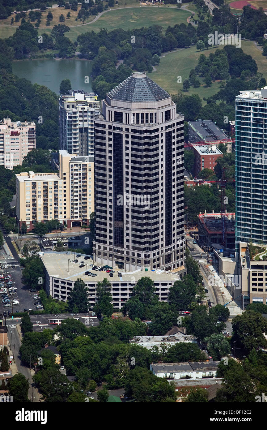 aerial view above 1100 Peachtree Street mid town Atlanta Georgia - Stock Image