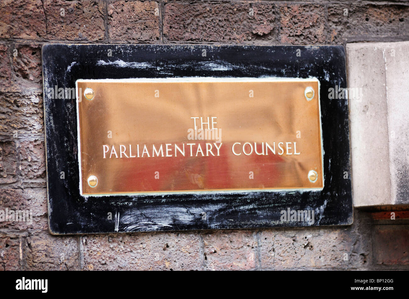 The Parliamentary Counsel Plaque sign, Whitehall, London, England, UK - Stock Image