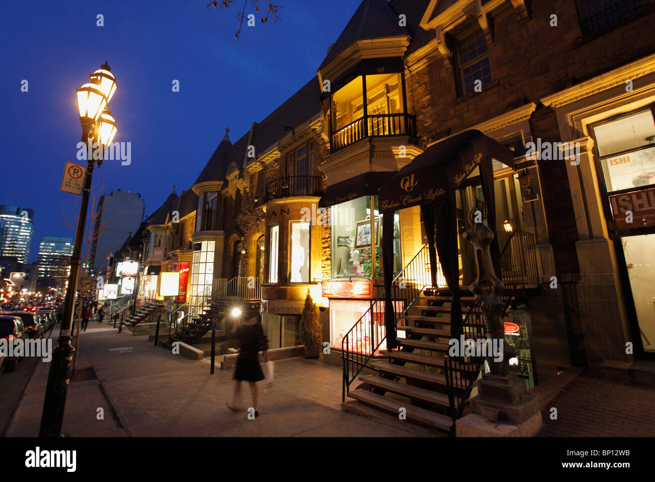 Canada, Quebec, Montreal, Crescent Street boutiques - Stock Image