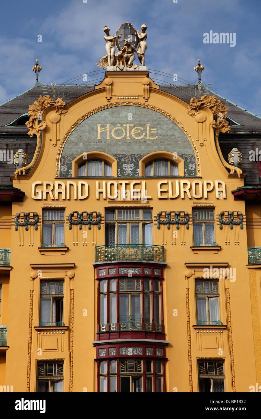 Czech Republic, Prague, Grand Hotel Europa - Stock Image
