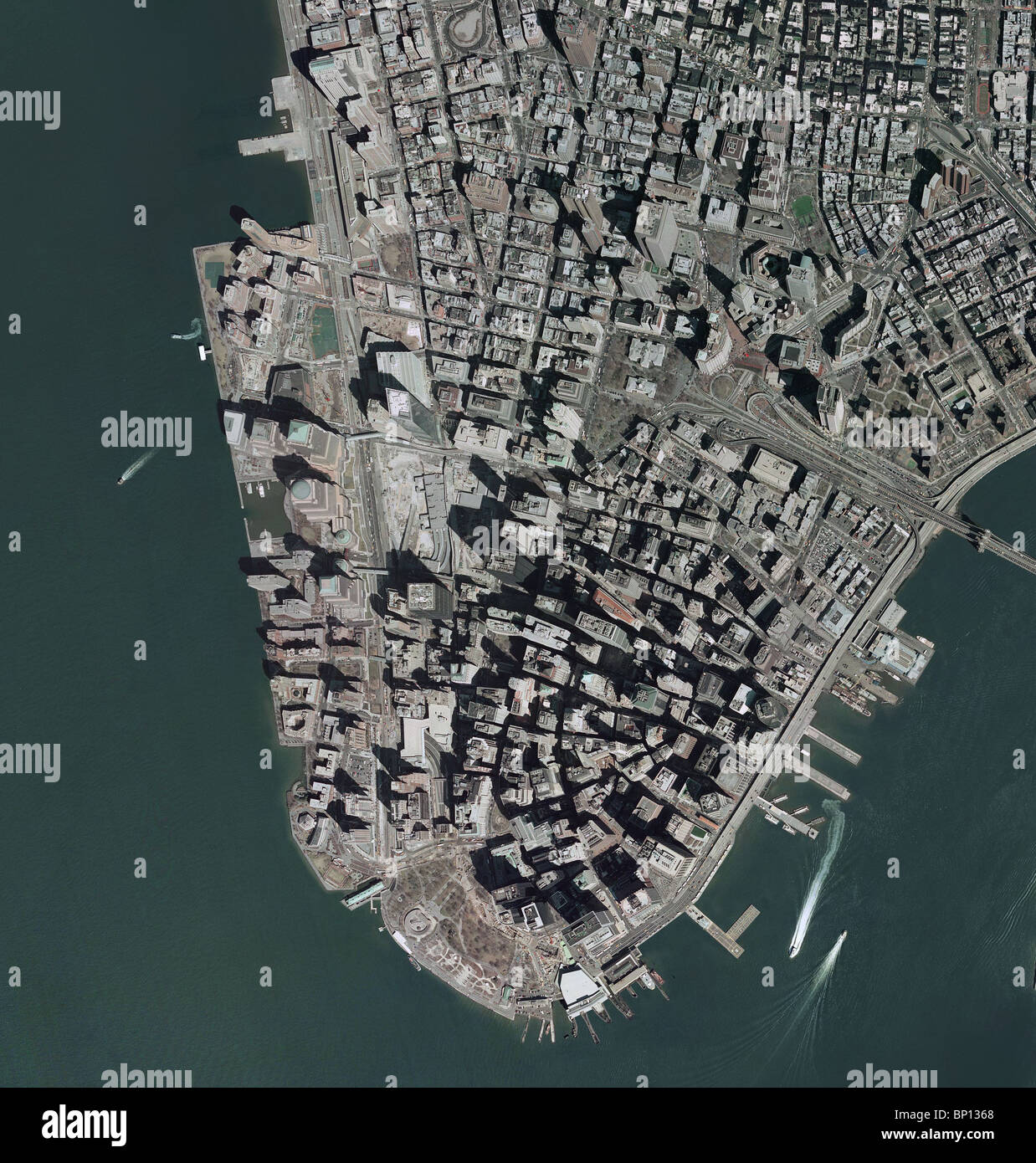 aerial map view above downtown Manhattan New York city Stock Photo