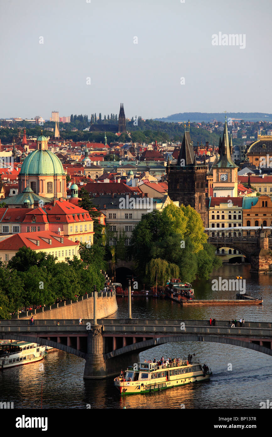 Czech Republic, Prague, Old Town skyline, Vltava River, boat - Stock Image
