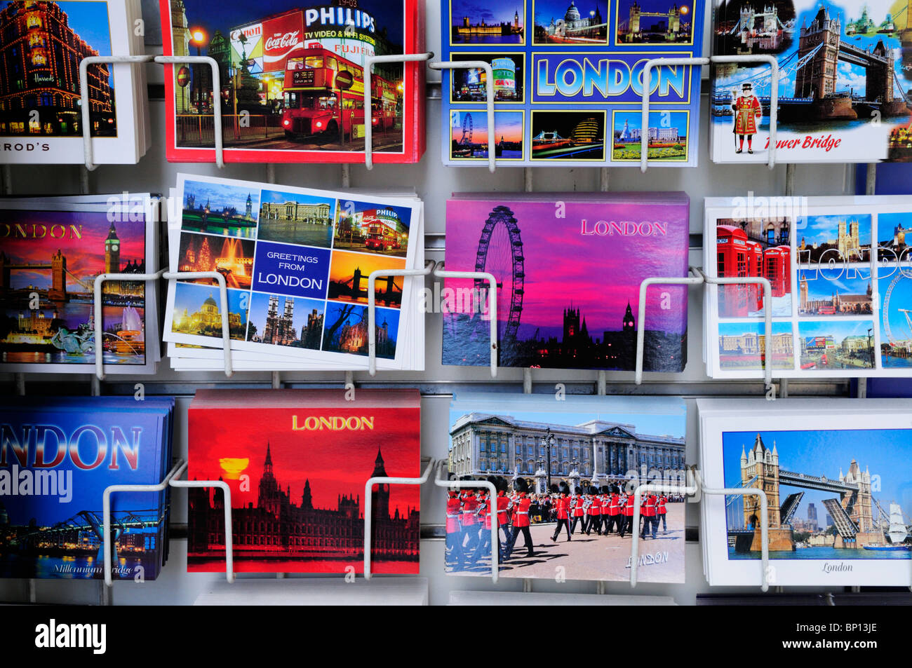Postcards for sale, London, England, UK - Stock Image