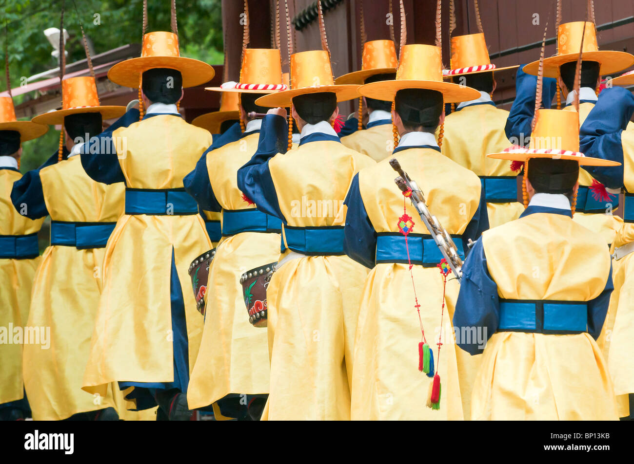 Chwiracheck, military band members during changing of the guard, Daehanmun Gate, Deoksugung palace,  Seoul, South Stock Photo