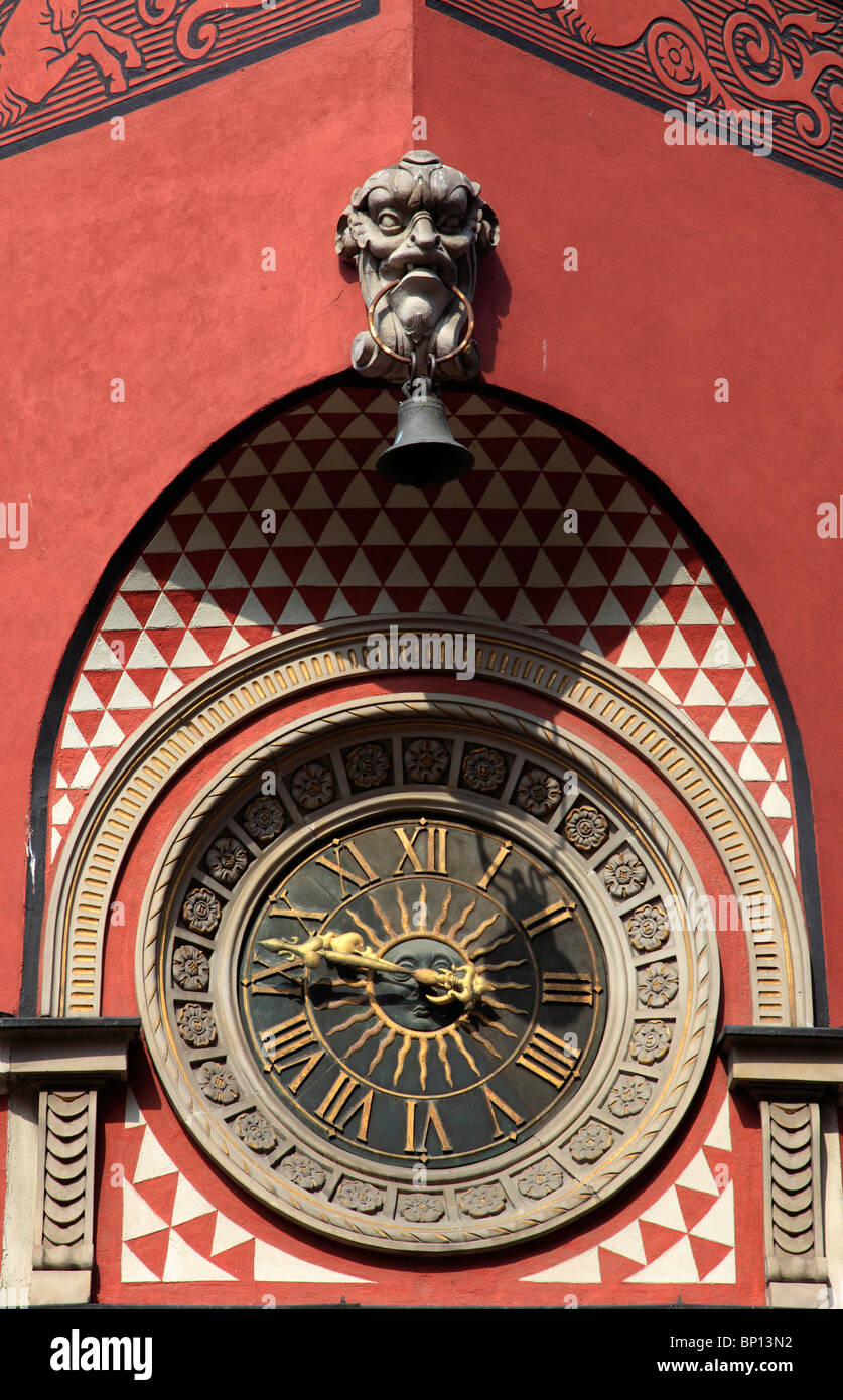 Poland, Warsaw, Old Town Square, wall clock - Stock Image