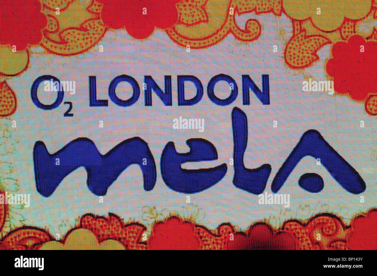 O2 London Mela big screen billboard advertisement, Gunnersbury Park, London, England, UK - Stock Image