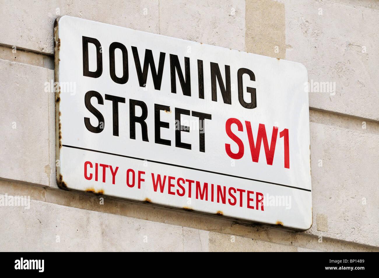 Downing Street Sign, London, England, UK - Stock Image