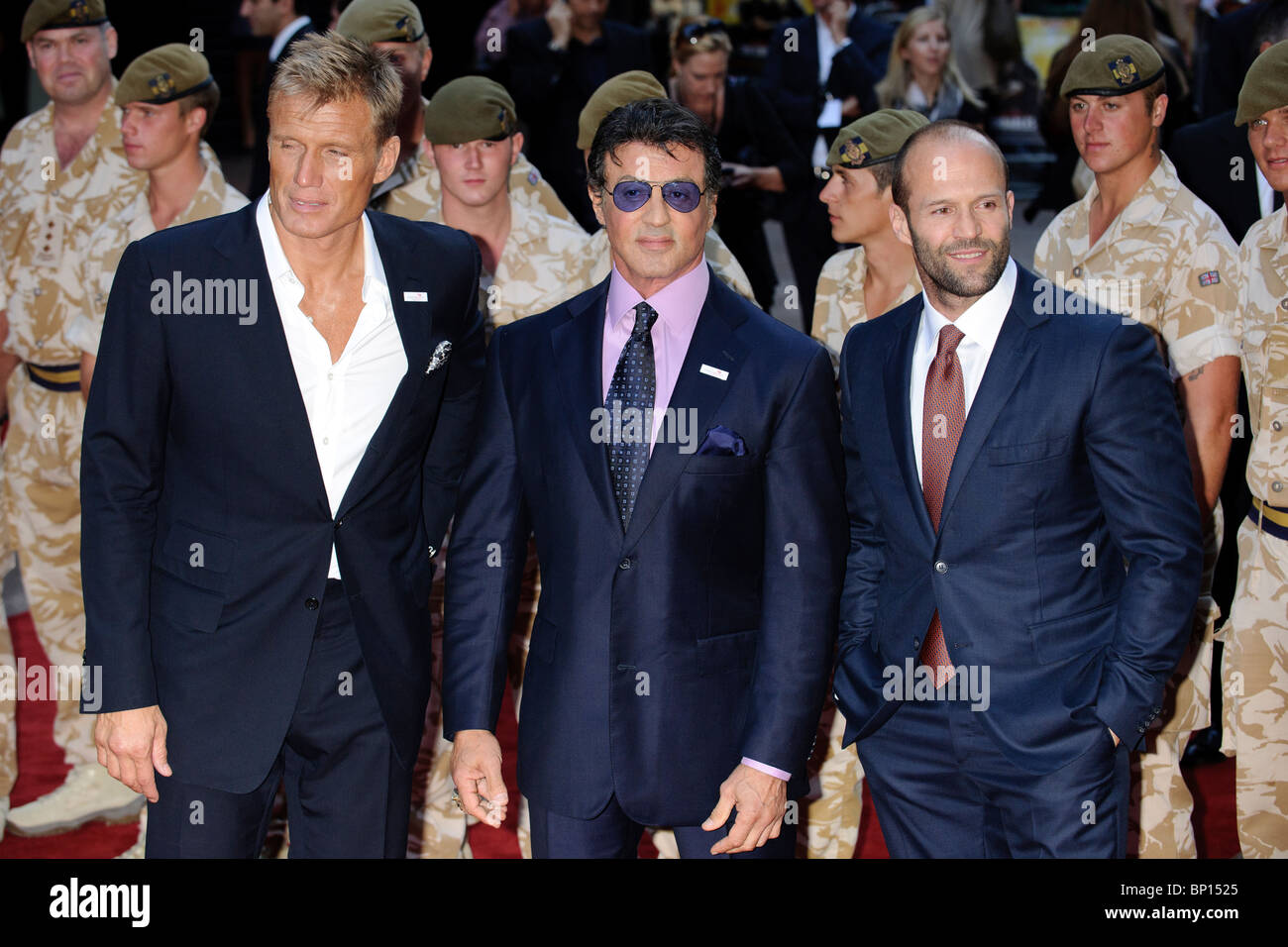 Dolph Lundgren, Sylvester Stallone, Jason Statham at the UK Premiere of 'The Expendables', Leicester Square, - Stock Image