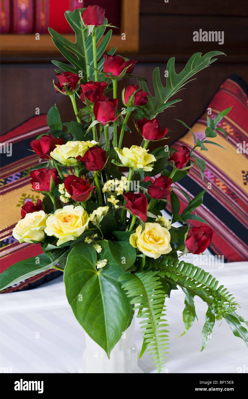 Chiang Mai, Thailand; A Flower Arrangement Sitting On A Table At The Horizon Resort - Stock Image