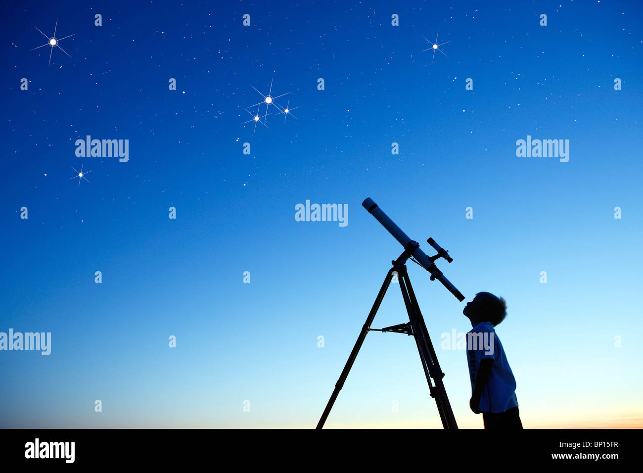 little boy looking at sky with telescope stock photo 30759115 alamy