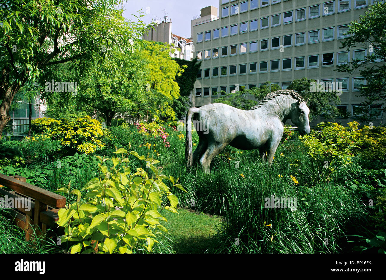 France, Paris, garden of AXA company - Stock Image