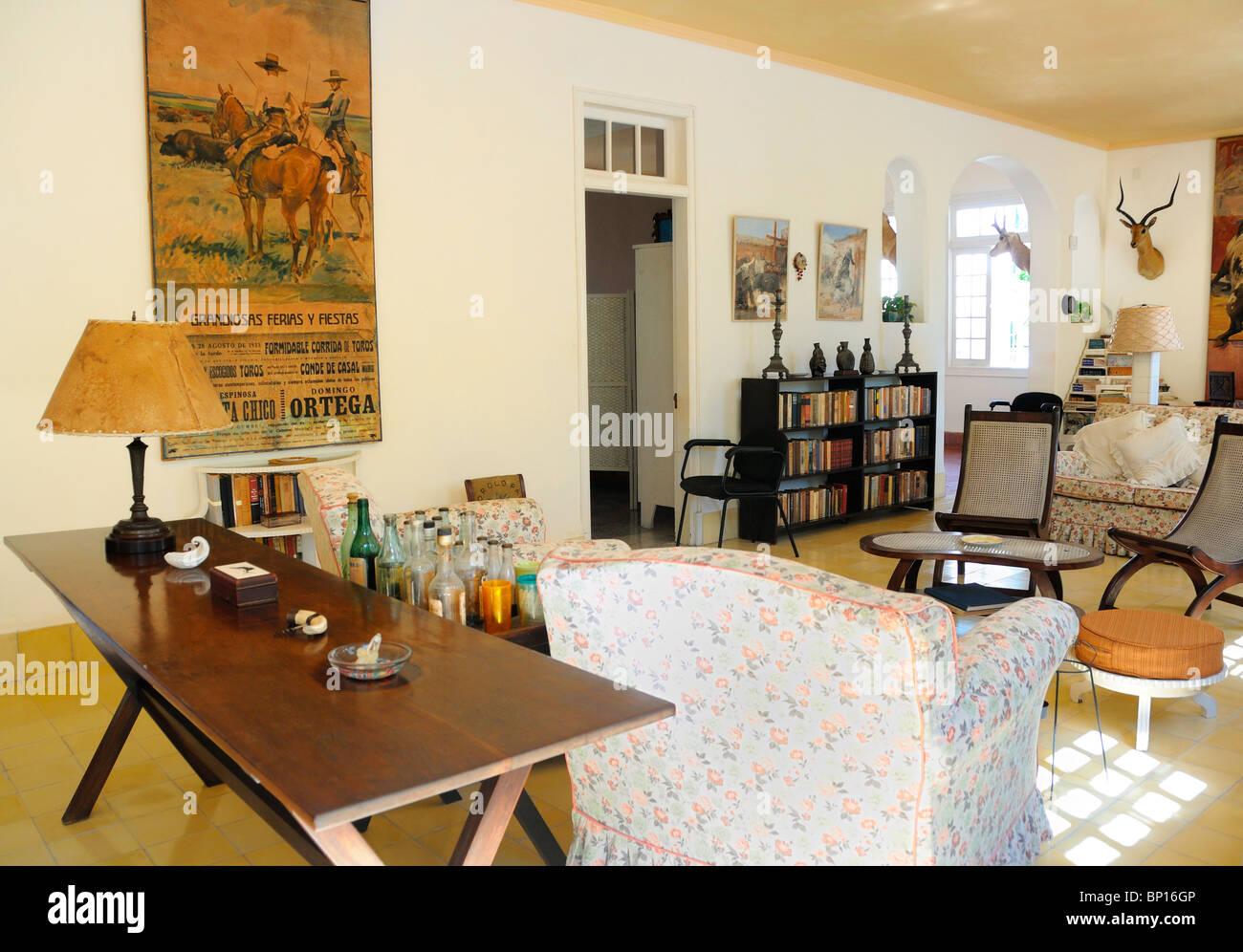Detail from Ernest Hemingway´s living room at Finca Vigia in San Francisco de Paula, Cuba. Stock Photo