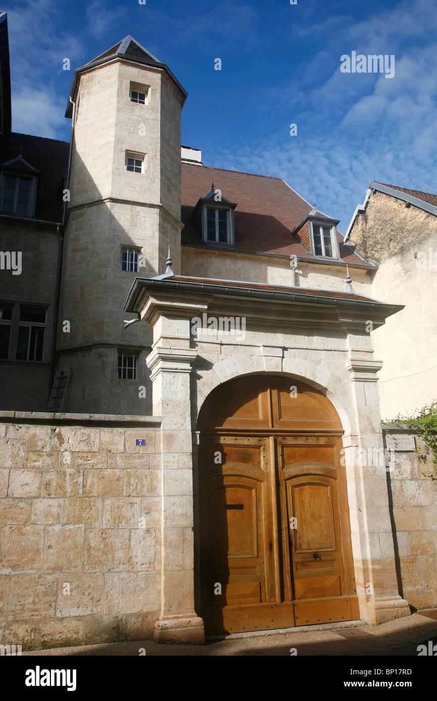 France, Franche-Comté, Doubs (25), La Loue valley, Ornans, Bauquier-Doney hotel from 16th century - Stock Image