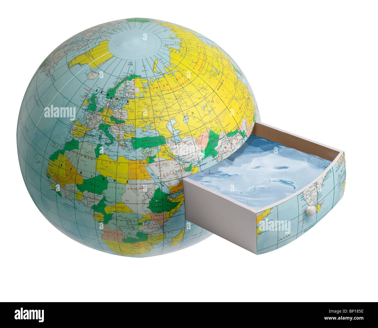 Globe with drawer filled with water - Stock Image