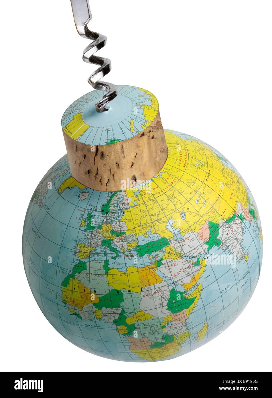 Globe and corkscrew - Stock Image