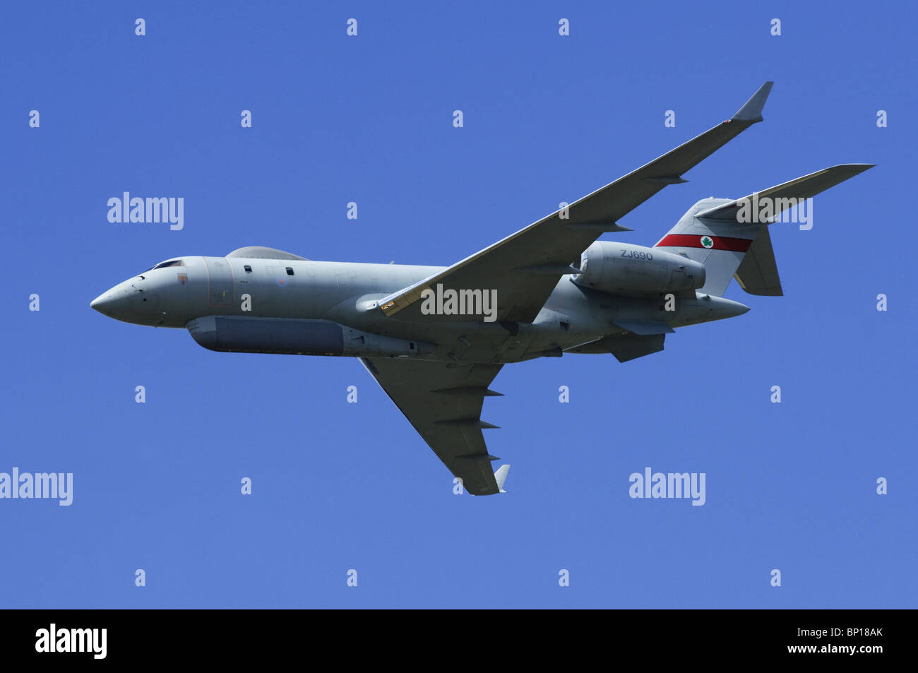 Bombardier BD-700 Sentinel R1 operated by 5 Squadron of the RAF making a flypast at Farnborough Airshow - Stock Image