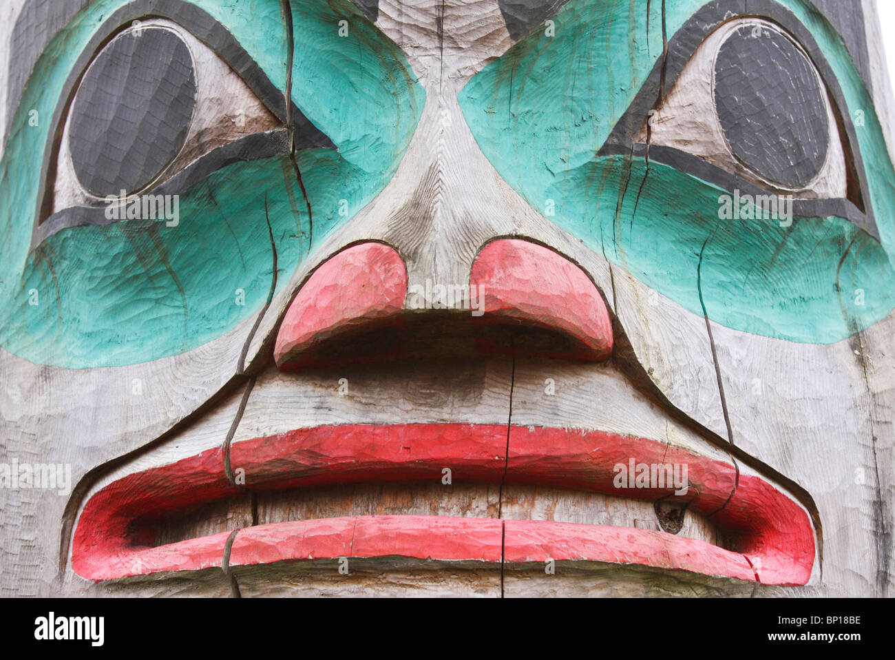 A fearsome-looking totem, Tlingit village of Klawock, Inside Passage, Alaska, USA. - Stock Image