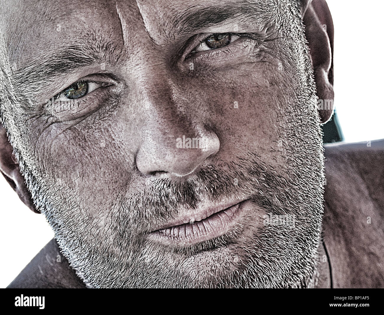 Portrait of man with craggy face - Stock Image