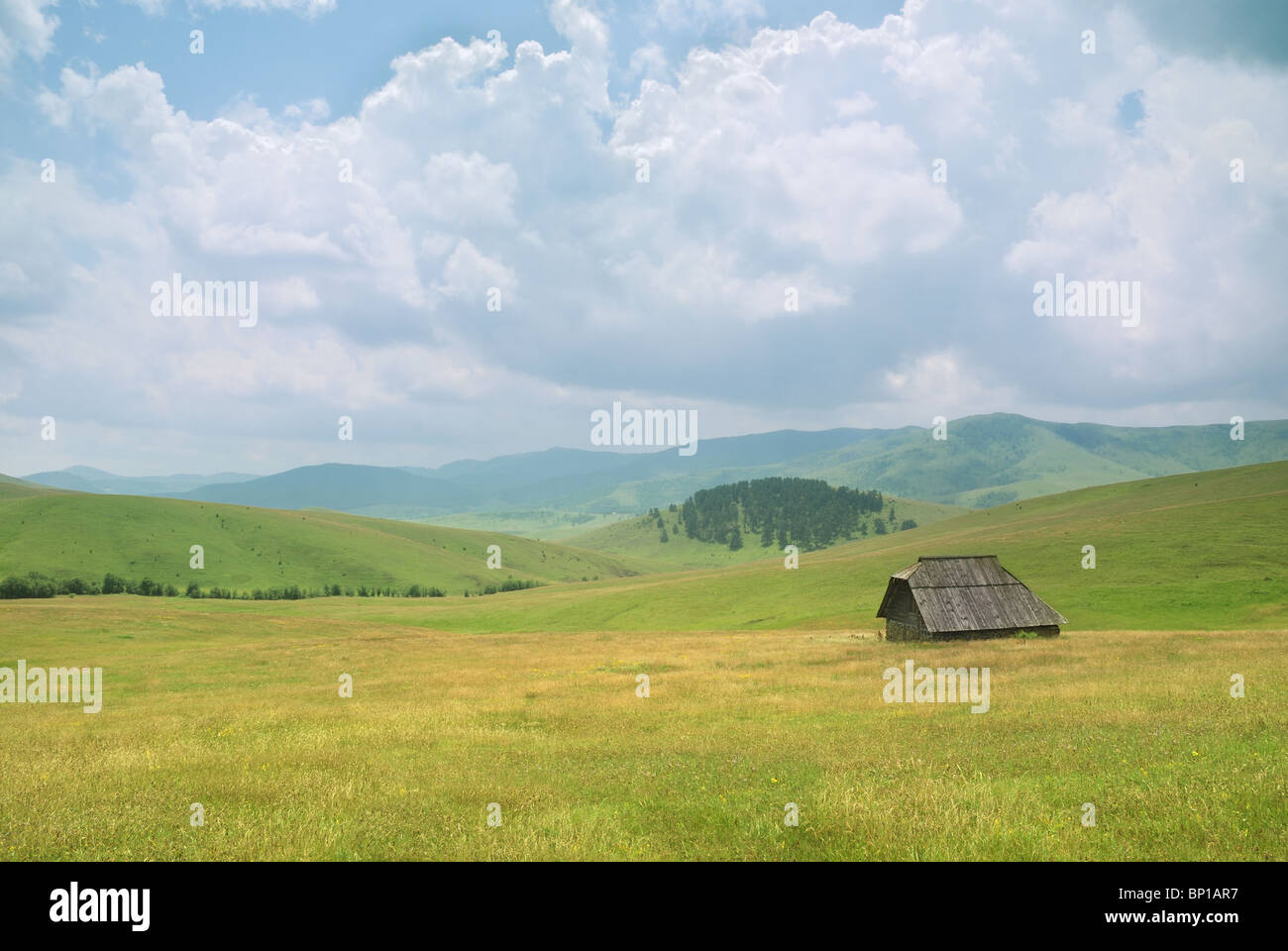 An old house on mountain Zlatibor, famous tourist resort in western Serbia. - Stock Image