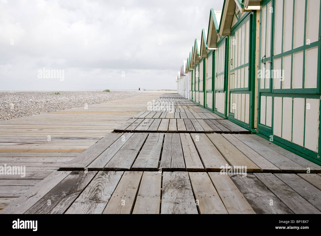 France, Baie de Somme, Cayeux, beach huts, 08/20/08. - Stock Image