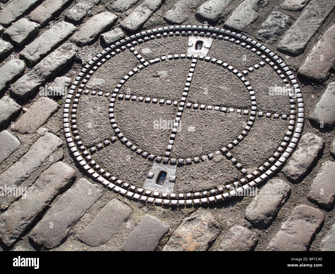 Manhole cover at Tower of London - Stock Image