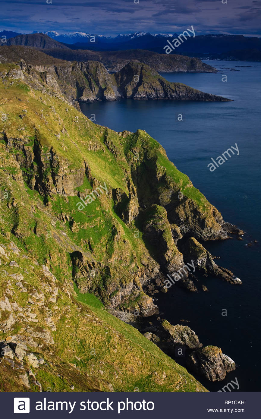 Green grassy hillsides and  cliffs on the island Runde on the Atlantic  west coast of Norway. - Stock Image