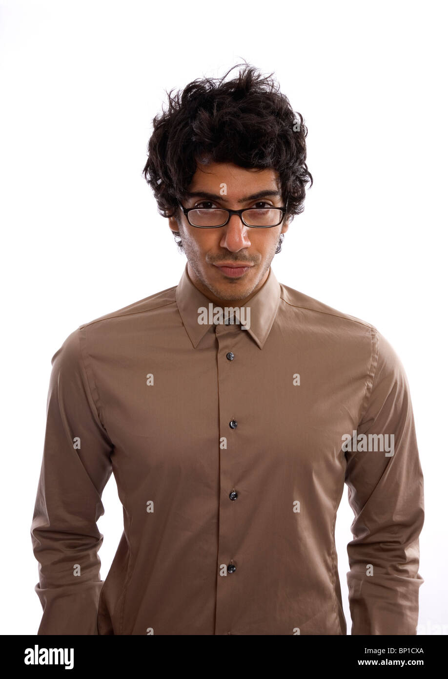 Man in buttoned collar shirt and glasses - intellectual look - Stock Image