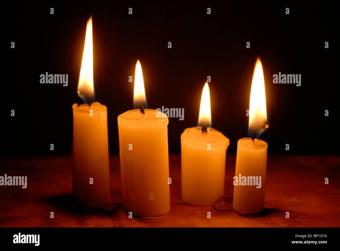 burning candle - Stock Image