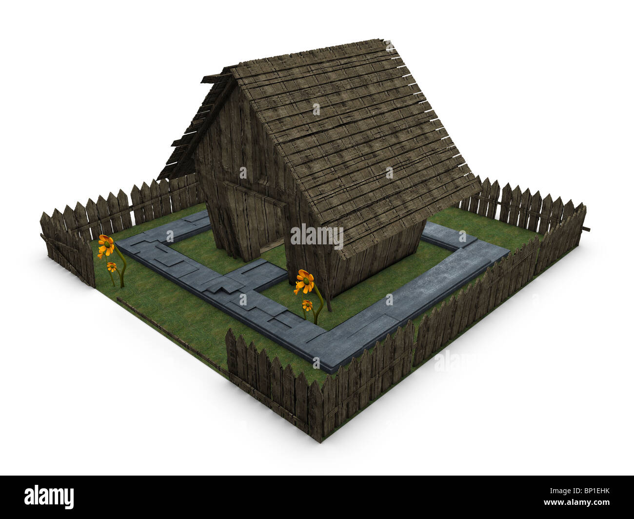 3d image, conceptual old cottage - Stock Image