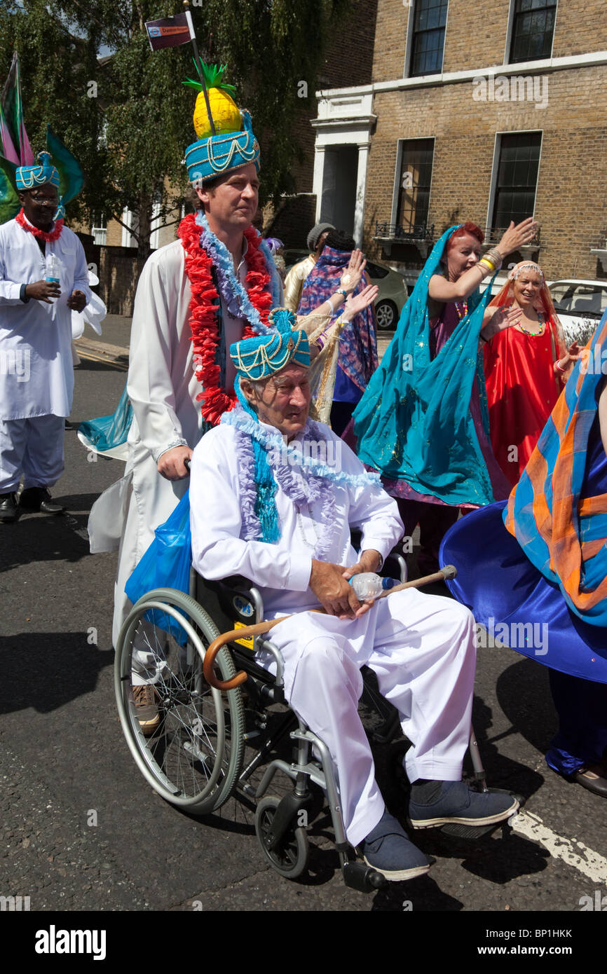 Hackney One Carnival 2010, Group with wheelchair from Peter Bedford Housing - Stock Image