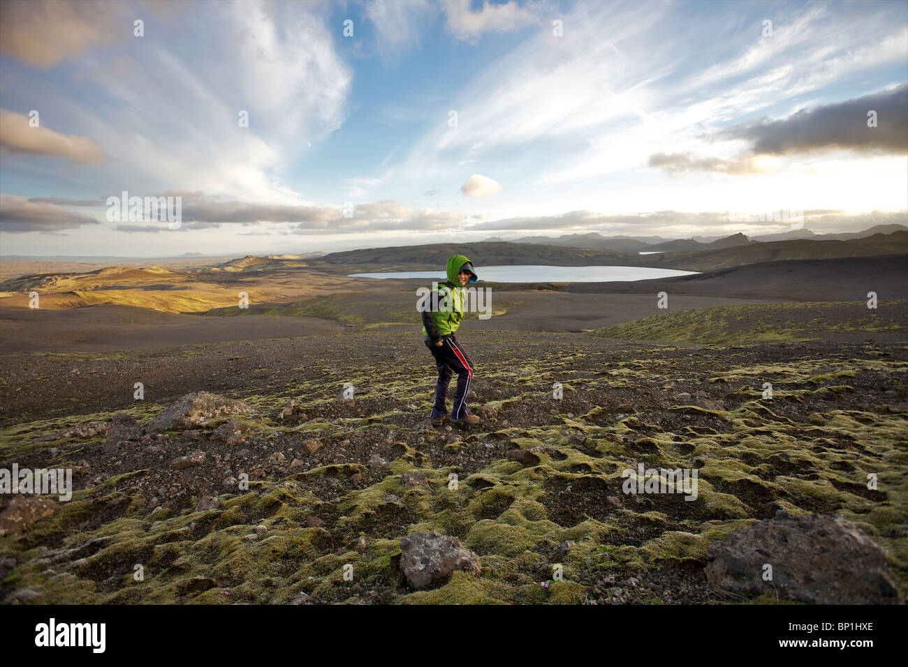 Young boy in the Highlands of Iceland. Lakagigar, Laki Craters in Vatnajokull National Park - Stock Image