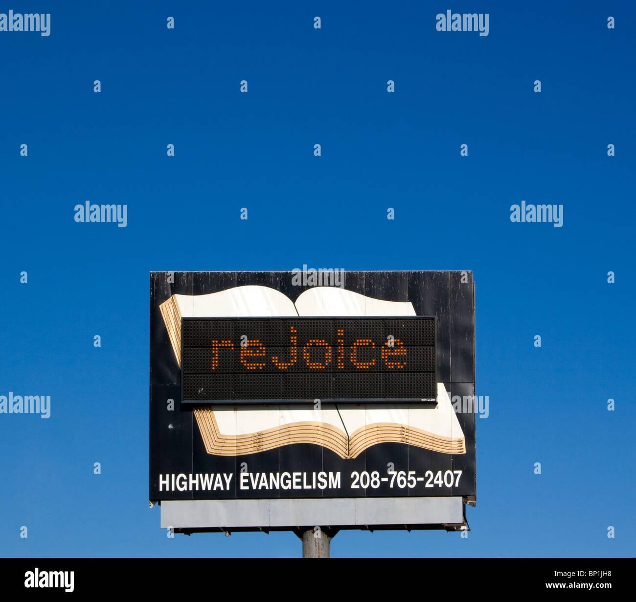 Rejoice Bible sign in Boise Idaho - Stock Image