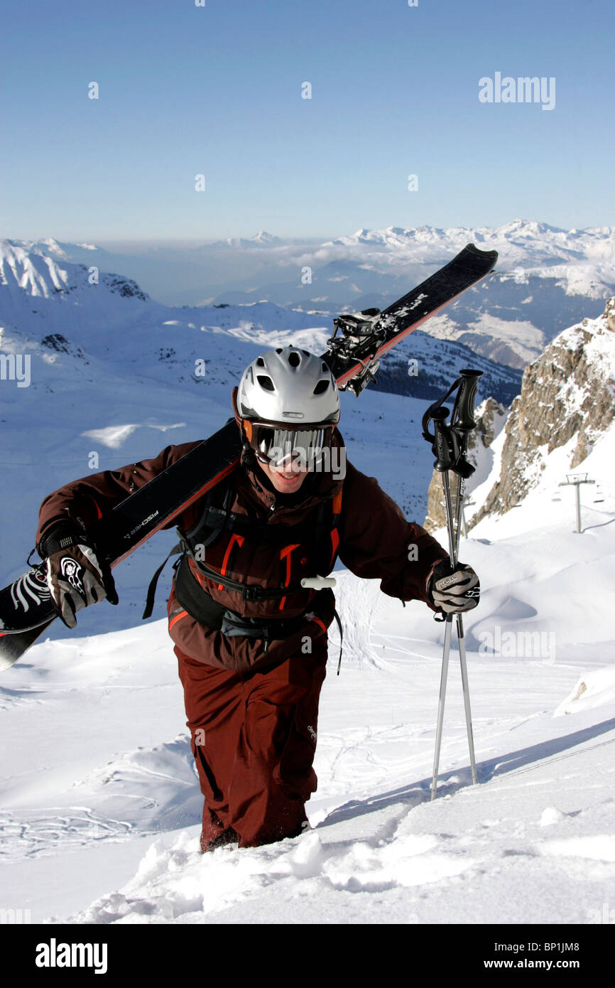 France, Alps, Savoie, Courchevel 1850, off piste skiing - Stock Image
