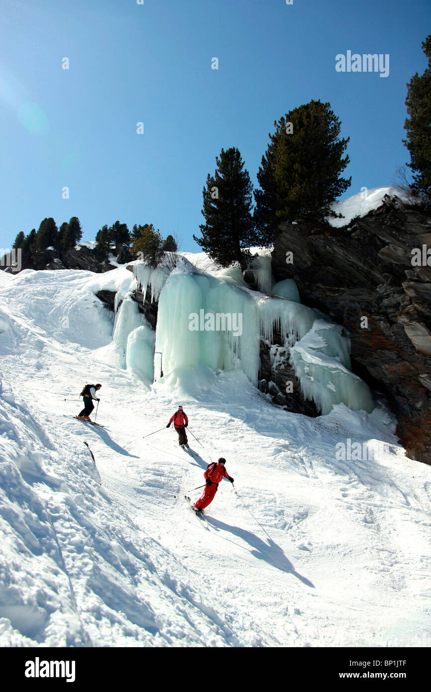 France, Alps, Savoie, Méribel-Mottaret, off piste skiing - Stock Image