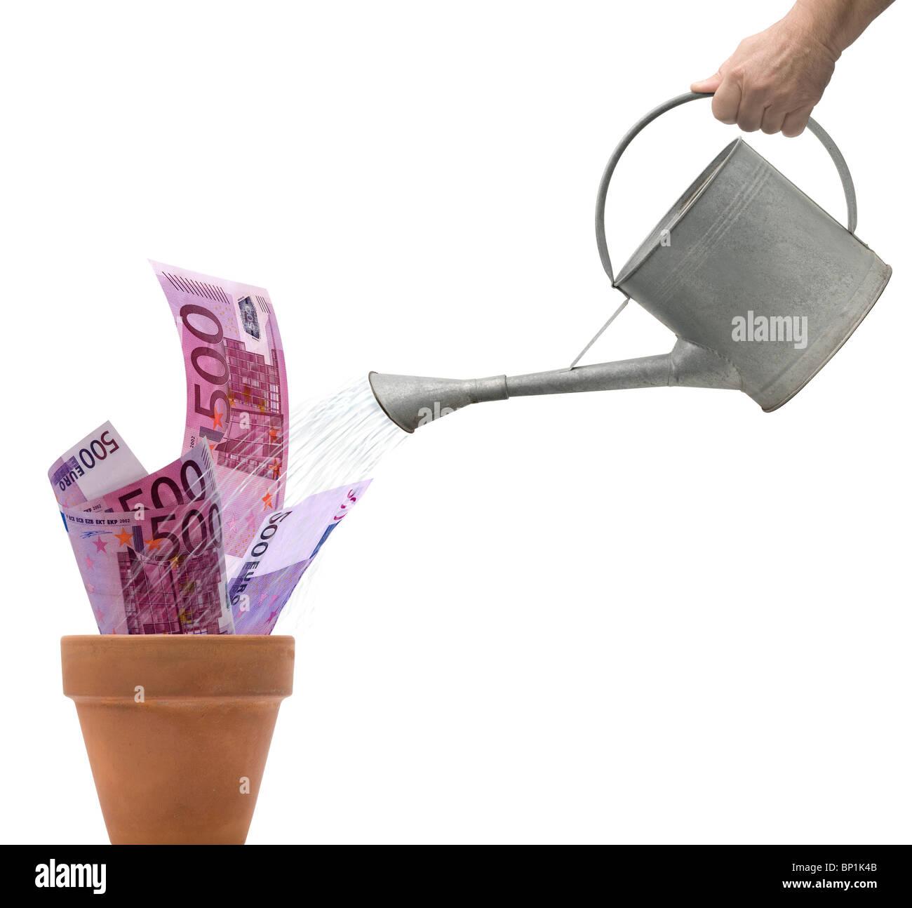 Hand watering 500 euro bills - Stock Image