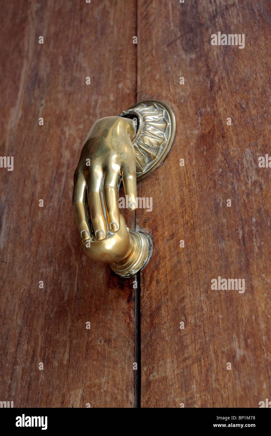 A Brass Hand Door Handle On A Door In Granada Andalucia Spain Europe    Stock Image