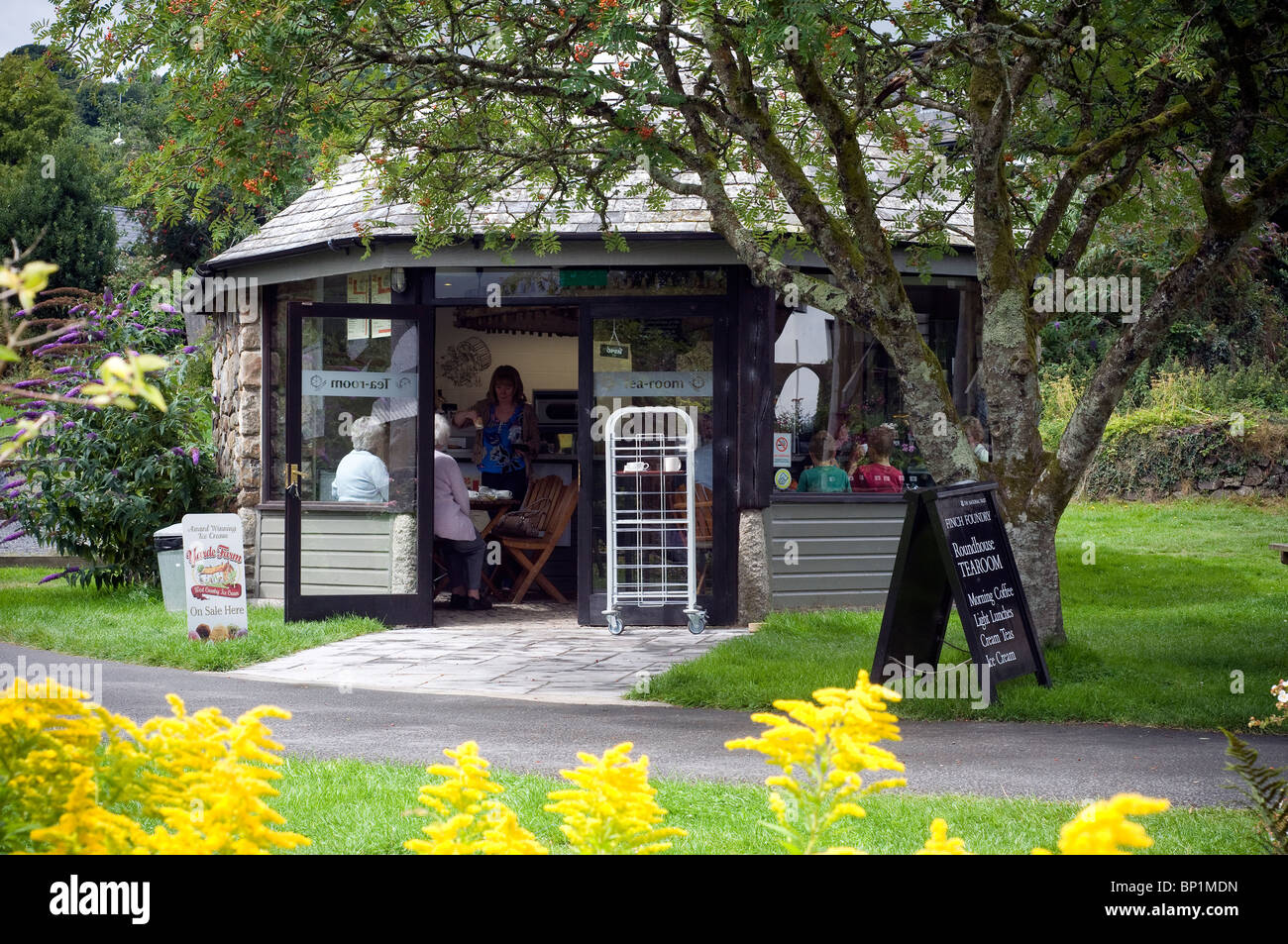 Tea room at Finches Foundry,Sticklepath,Devon - Stock Image