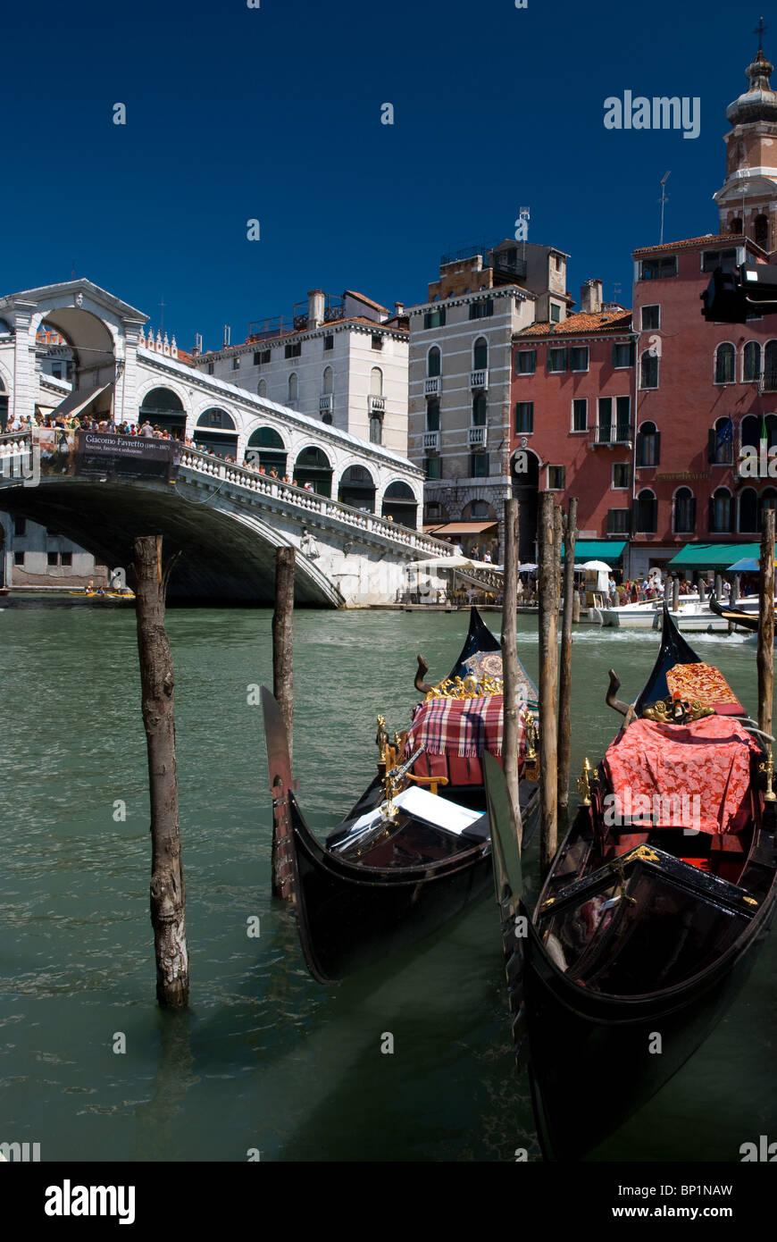 Gondolas near Riato Bridge, Venice, Italy - Stock Image