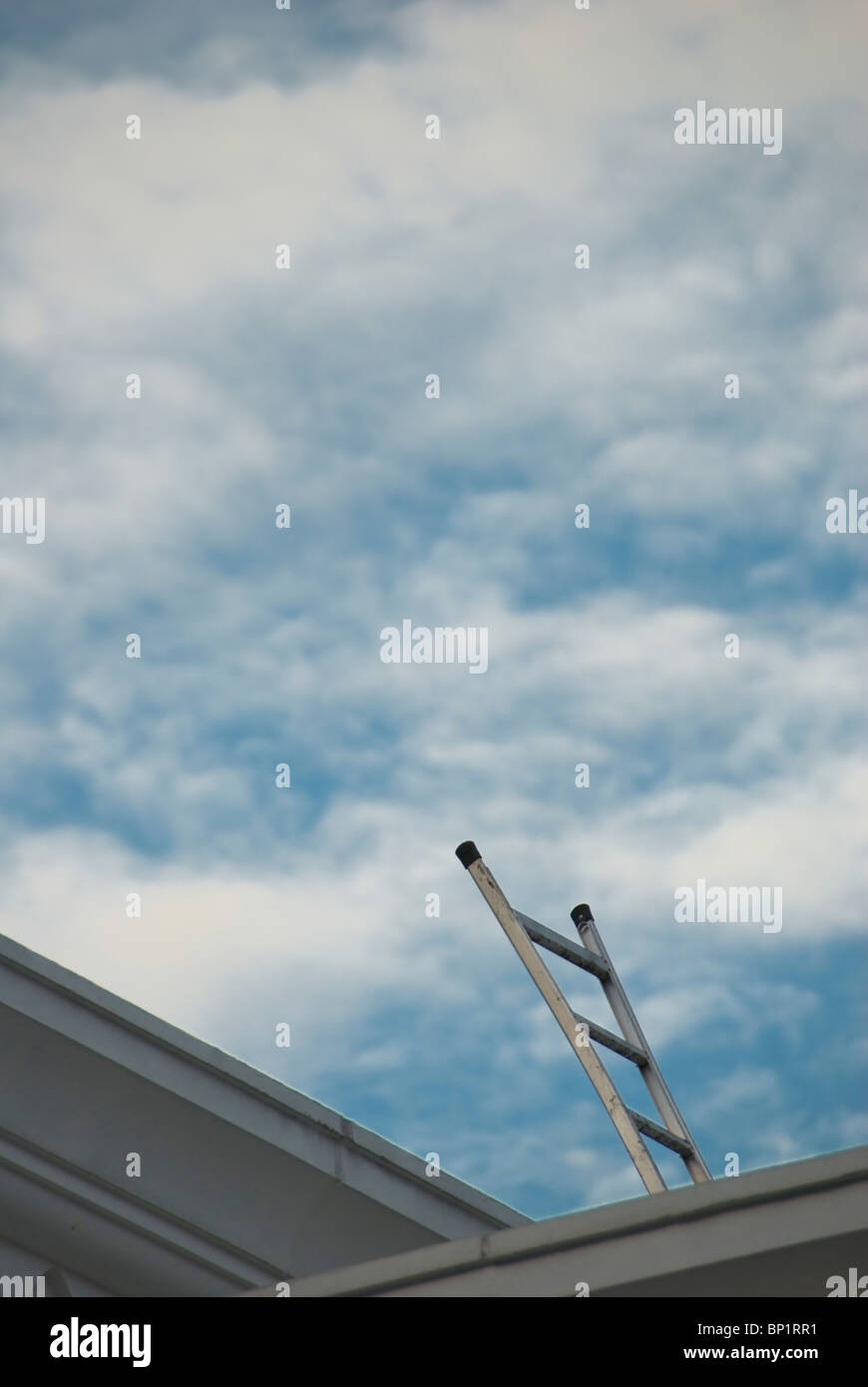 Kuala Lumpur, Malaysia; A Metal Ladder On A Roof Reaching To The Sky - Stock Image