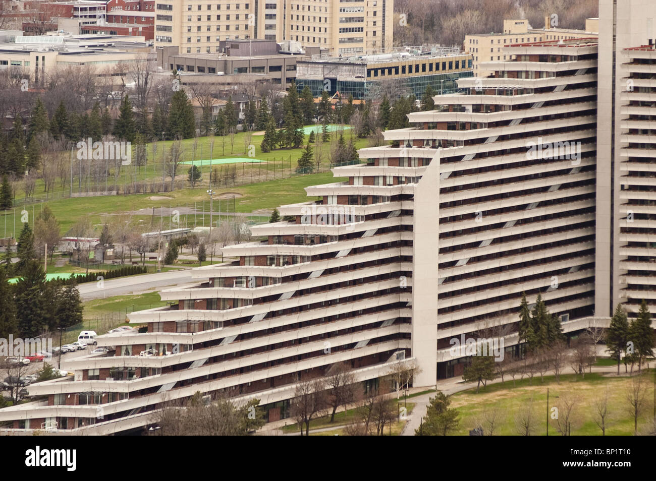 Olympic Village residential building, Montreal, Quebec, Canada build by Rene Lepine, architect: Roger Tallibert - Stock Image