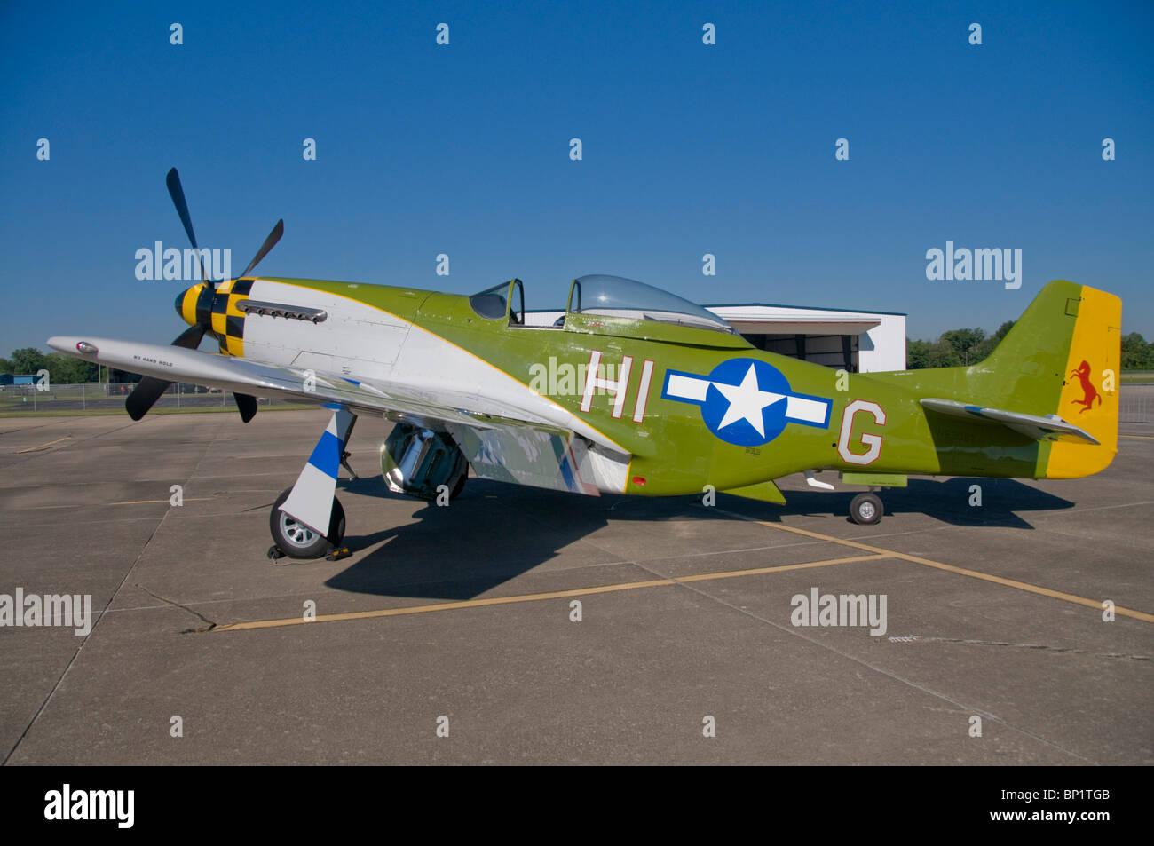 1951 US Army Airplane, P-51 Mustang Airplane - Stock Image