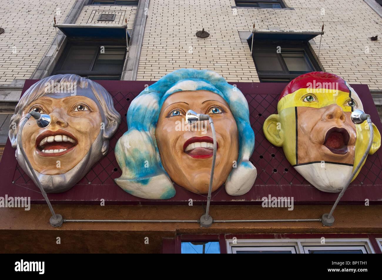 Heads sculptures at Cafe Kilo, Cafe Kilo, 1254 St-Denis, Latin Quarter, Montreal, Quebec, Canada - Stock Image